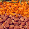 roasted chicken sausage sweet potatoes and fresh green beans recipe main photo
