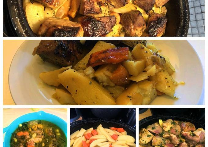 Spring pork in the oven pot with citrus