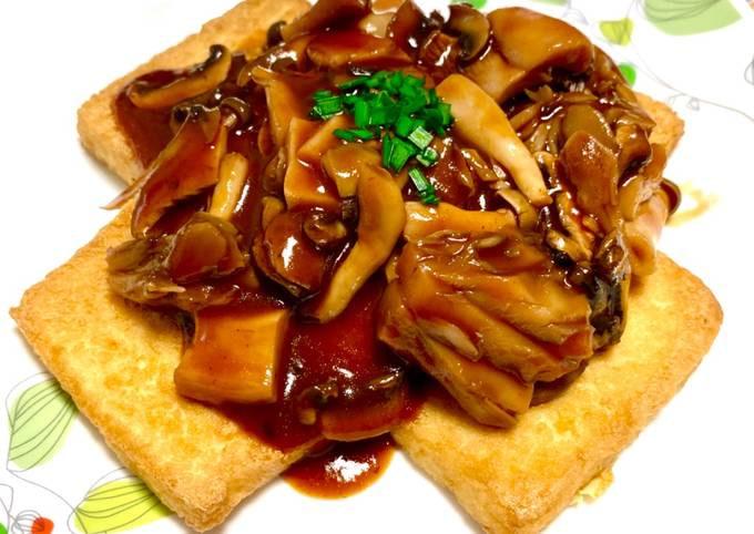 Tofu Grill with Red Wine & Mushroom Sauce