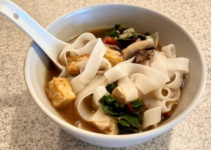 Mushroom and Swiss Chard Rice Noodle Soup