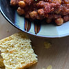 vegan chili and sweet cornbread recipe main photo