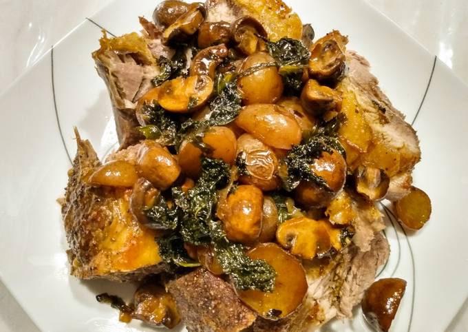 One pan roasted pork, potatoes, mushrooms, kale and pan gravy