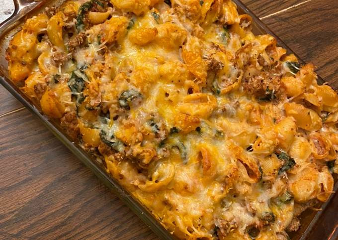 Easy stuffed shells (pasta bake) spinach mushrooms and ricotta cheese