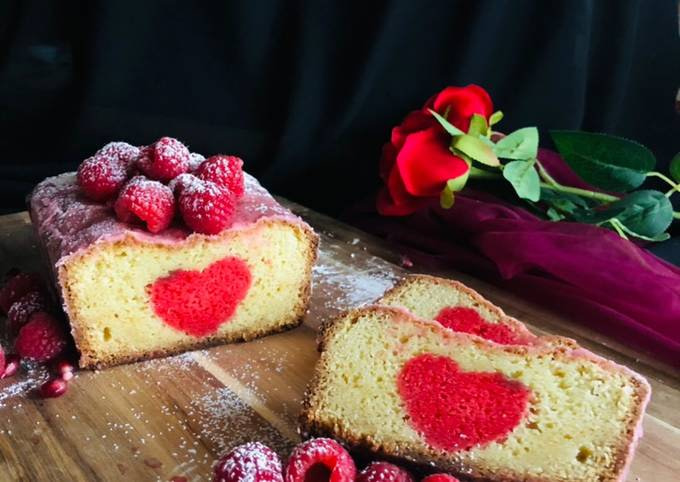 Hidden heart raspberry cake