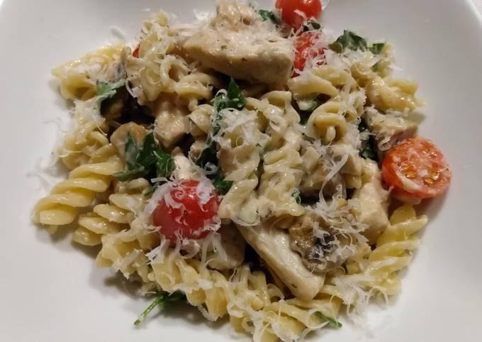 Chicken and mushroom pasta in parmesan sauce