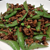 sugar snaps stir fried with mince and fermented black beans recipe main photo