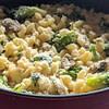 Broccoli mushroom cheddar mac and cheese