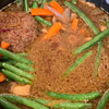 hamburger steak with mushrooms green beans carrots recipe main photo