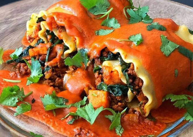 Vegan Plant Based Chorizo, Sweet Potato & Spinach Rollatas with Spicy Coconut Indian Curry Sauce