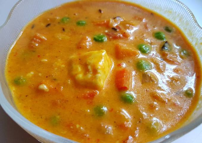 Indian Mattar Paneer - Green Peas & Cottage Cheese Curry