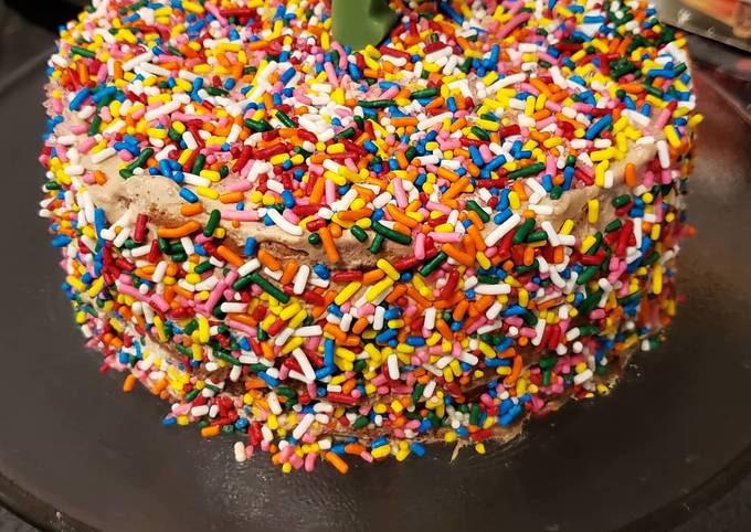 Chocolate sprinkles birthday cake