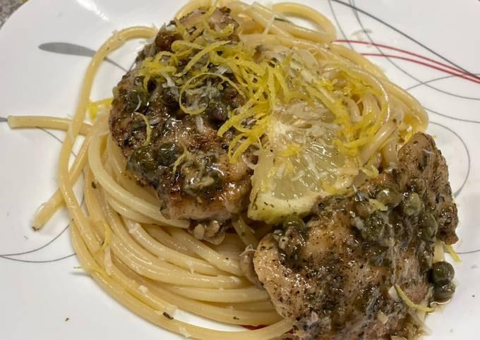 Chicken Piccata over Lemon Basil Pasta