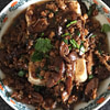 Steam tofu with fried dry mushroom and minced pork
