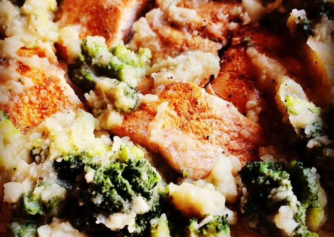 Instant Pot Salmon with Garlic Potatoes and Broccoli