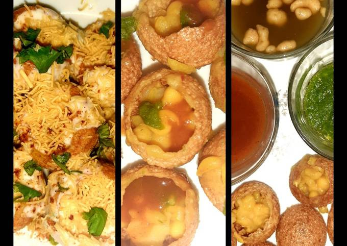 Indian snack (crisp sphere with flavoured water/curd mixture)